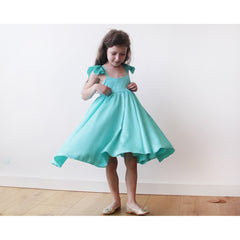 Turquoise girls butterfly dress - Maison du Roi - 1