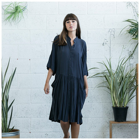 Oversized Buttoned Shirt Dress,Dropped Waist Shirt Dress, Dark Grey. - Maison du Roi - 1