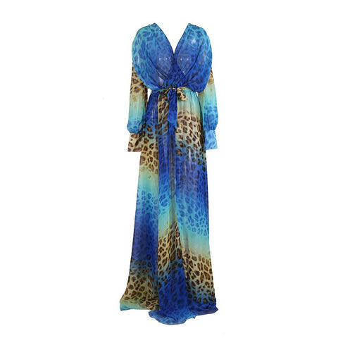 Blue Leopard Maxi Dress - Maison du Roi - 1