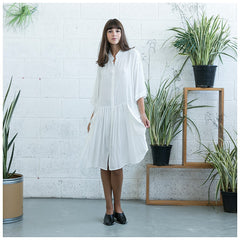 Oversized Buttoned Shirt Dress,Dropped Waist Shirt Dress, White. - Maison du Roi - 1