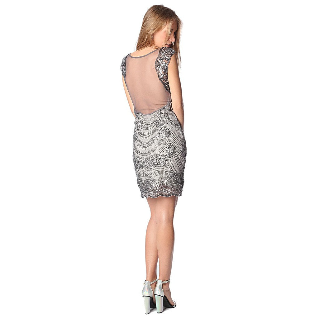Silver sequin midi dress with deep back - Maison du Roi - 1