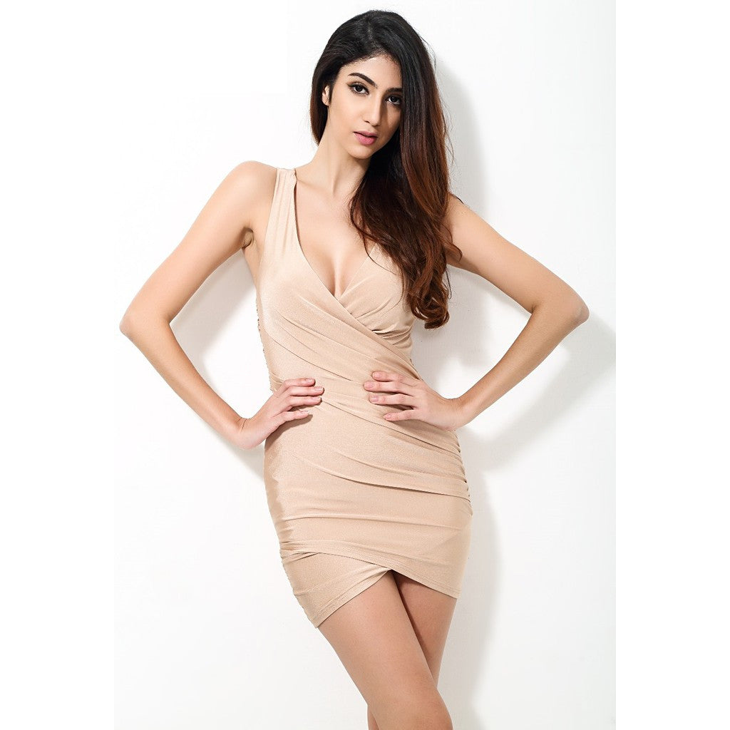 Solid Nude Fitted Party Dress - Maison du Roi - 2