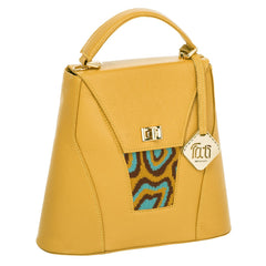 TATI BODUCH Designer Handbag, AGATE Collection, genuine leather: mustard, knitwear: turquoise - Maison du Roi - 1