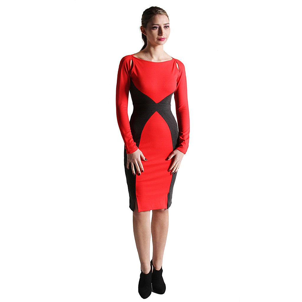 Victoria Color-blocked Ponte Dress - Maison du Roi - 1
