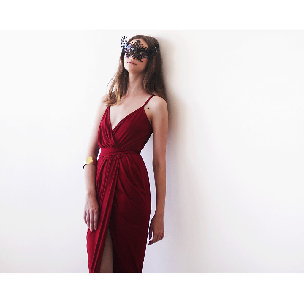 Wrap maxi Bordeaux gown, Wine red tulip maxi gown - Maison du Roi - 1