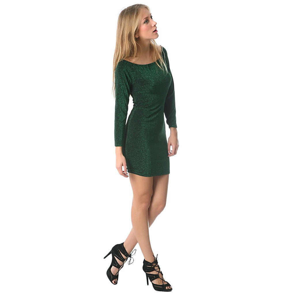 Green glitter mini bodycon dress - Maison du Roi - 1