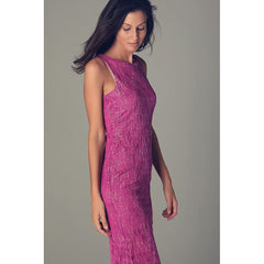 Fuchsia maxi dress with textured sparkle effect - Maison du Roi - 1