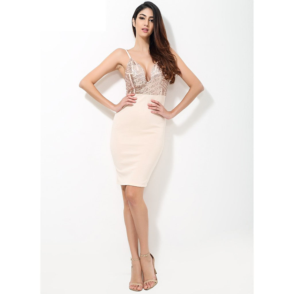 Beige Sequin V Neck Plunge Party Dress - Maison du Roi - 4