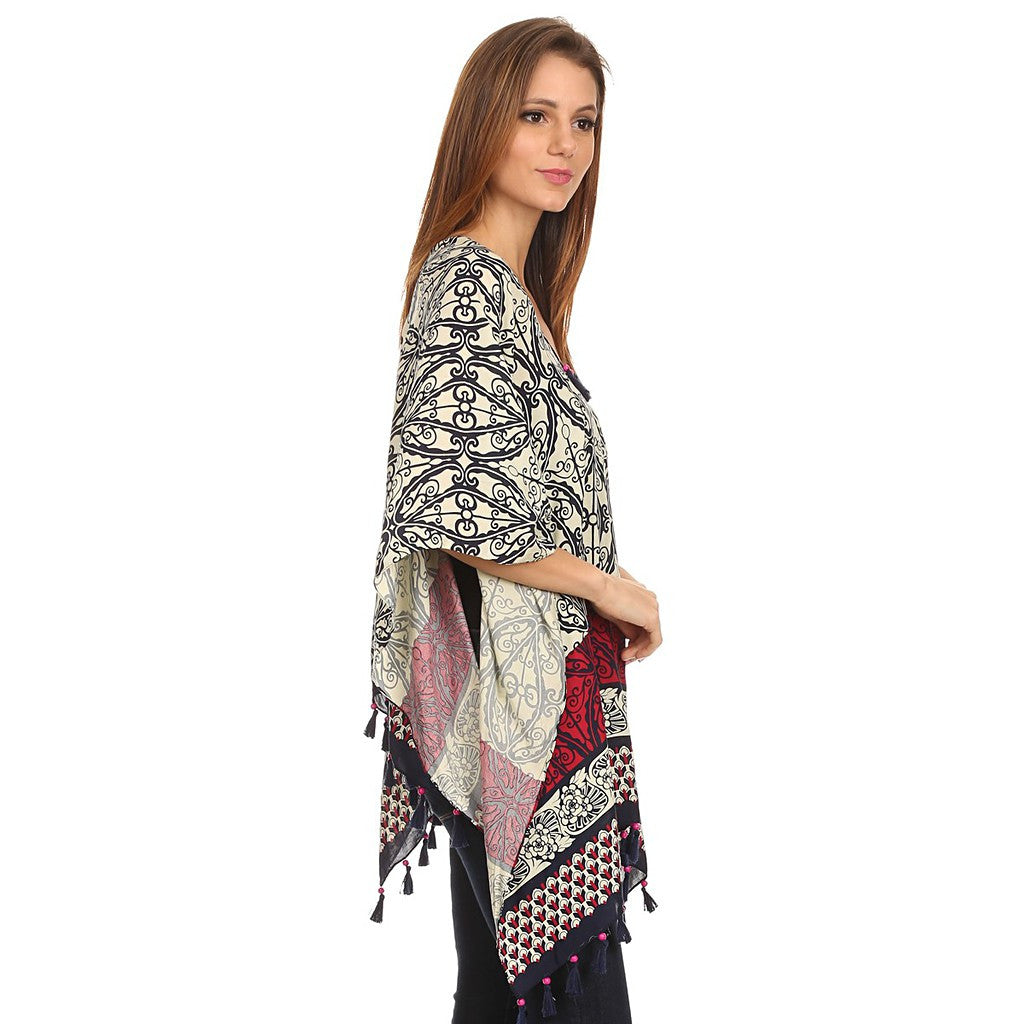 Womens Pullover Lightweight Poncho with Wooden Beaded Tassels - Maison du Roi - 3