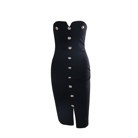 Black Button Dress - Maison du Roi - 1
