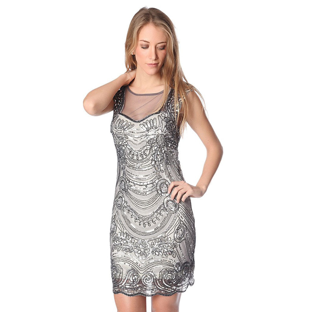 Silver sequin midi dress with deep back - Maison du Roi - 2