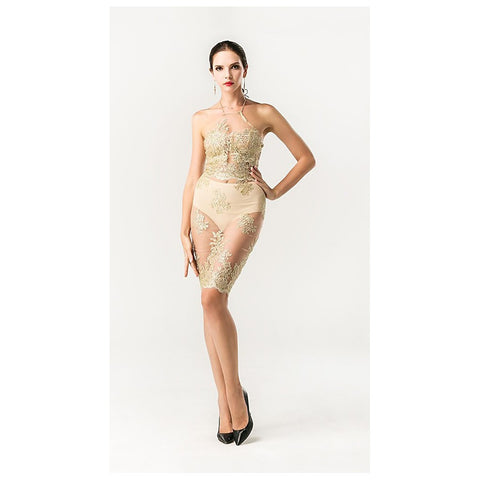 Sexy Gold See Thru Dress - Maison du Roi - 1