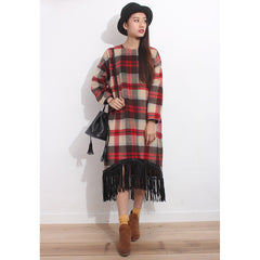 Tartan Oversized Furry Dress - Maison du Roi - 1