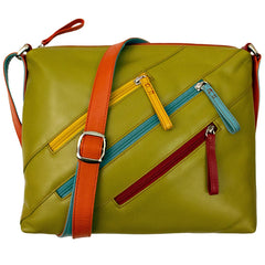 Leather Crossbody Bag with 3 Zippers - Citrus - Maison du Roi