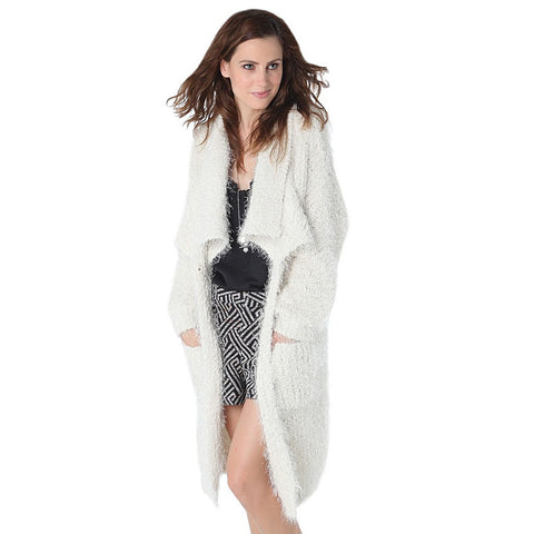 Cream longline oversize cardigan in fluffy yarn - Maison du Roi - 1