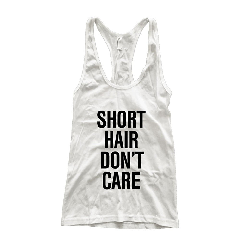 Short Hair Don't Care Fine Jersey Athletic Racerback Tank Top - Maison du Roi - 1