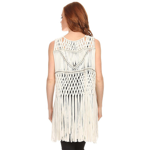 Womens Macrame Hand Tied Fringe Poncho with Beads.