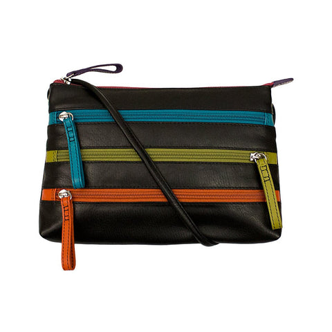 Leather Crossbody Bag with 3 Zippers - Black Brights - Maison du Roi - 1