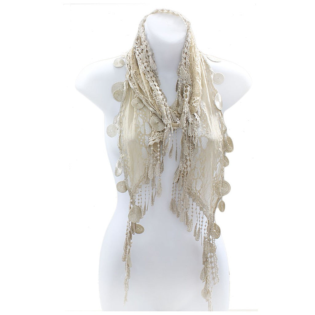 Romantic Lace Scarf with Duo Tassels - Maison du Roi