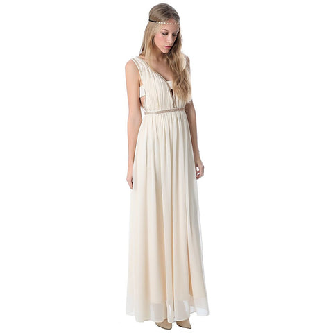 Cream chiffon maxi dress with cut outs - Maison du Roi - 1