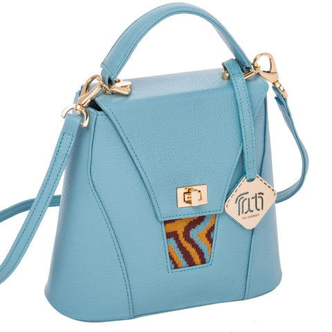 TATI BODUCH Designer Handbag, AGATE Mini Collection, genuine leather: turquoise, knitwear: turquise