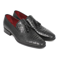 Paul Parkman Men's Black Genuine Python Tassel Loafers (ID#26GH41) - Maison du Roi - 1