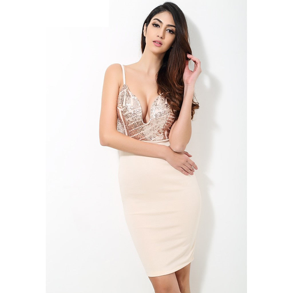 Beige Sequin V Neck Plunge Party Dress - Maison du Roi - 1