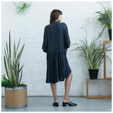 Oversized Buttoned Shirt Dress,Dropped Waist Shirt Dress, Dark Grey. - Maison du Roi - 3