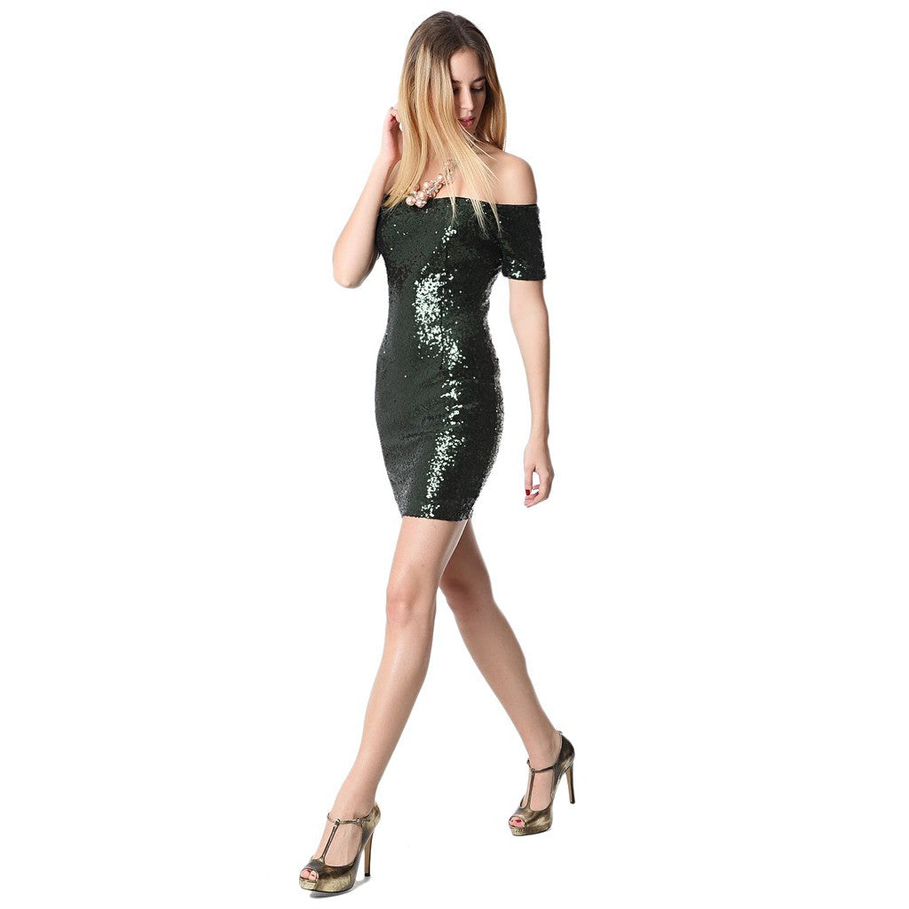 Green sequin mini dress with boat neckline - Maison du Roi - 3