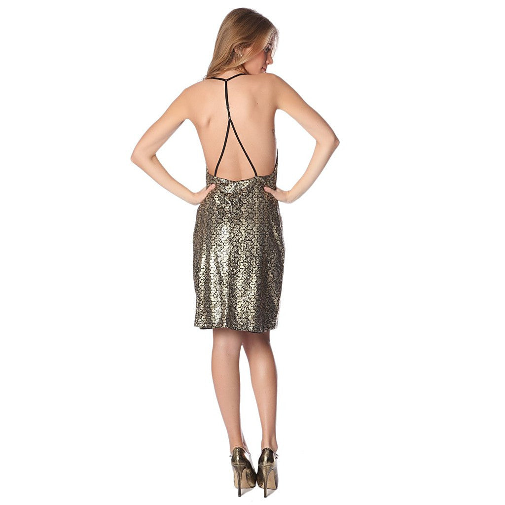 Golden brocade print dress with strappy back - Maison du Roi - 1
