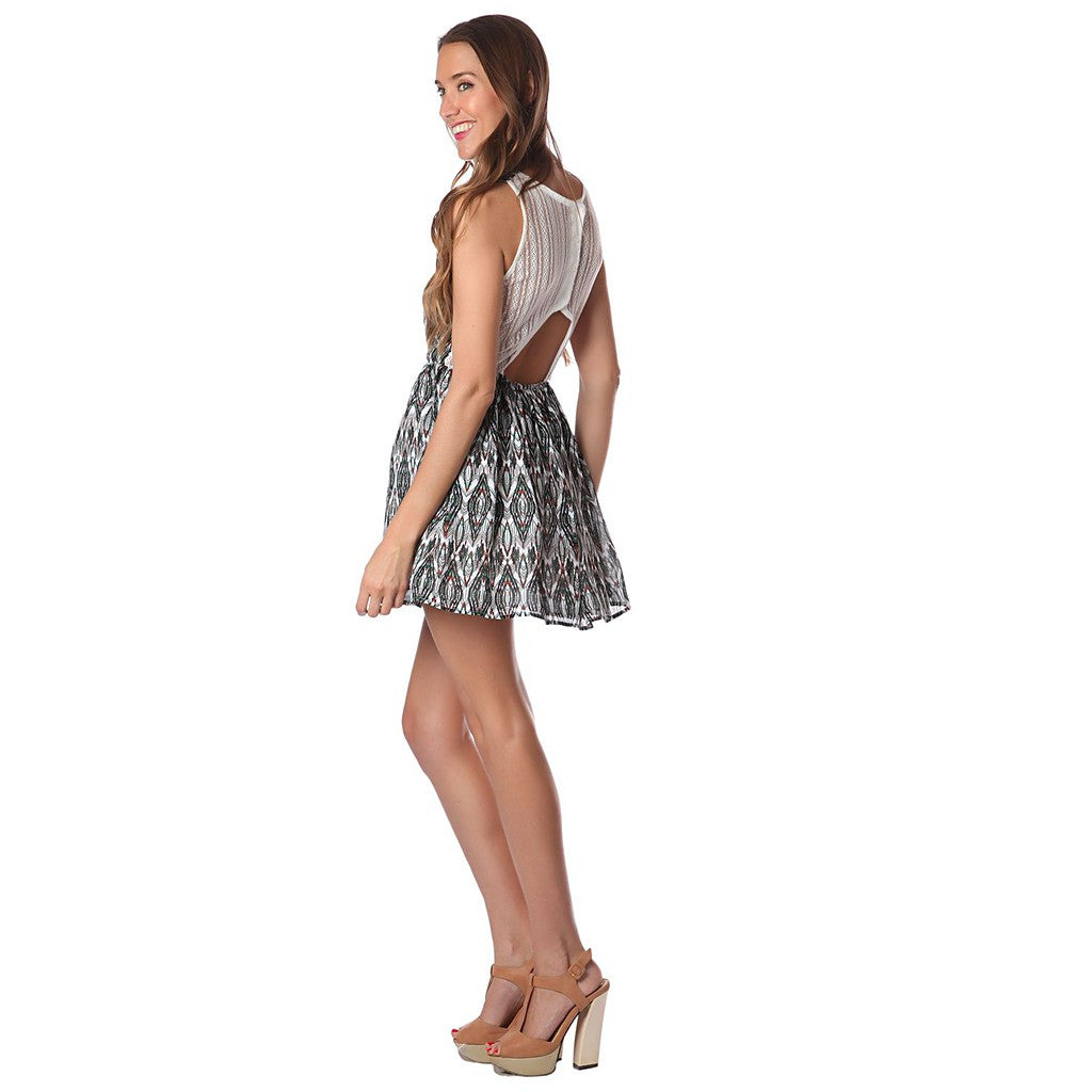 GREEN PRINT SHORT DRESS WITH CROCHET BACK - Maison du Roi - 1