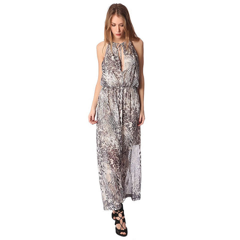 Gray maxi dress in animal print - Maison du Roi - 1