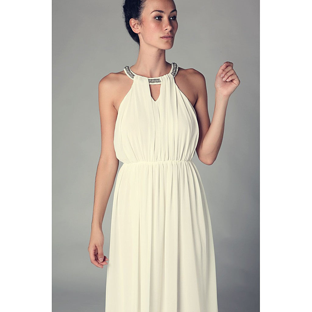 Cream halter neck chiffon maxi dress with embellished neckline - Maison du Roi - 1