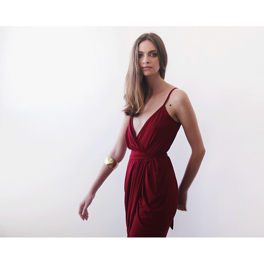 Wrap maxi Bordeaux gown, Wine red tulip maxi gown - Maison du Roi - 4
