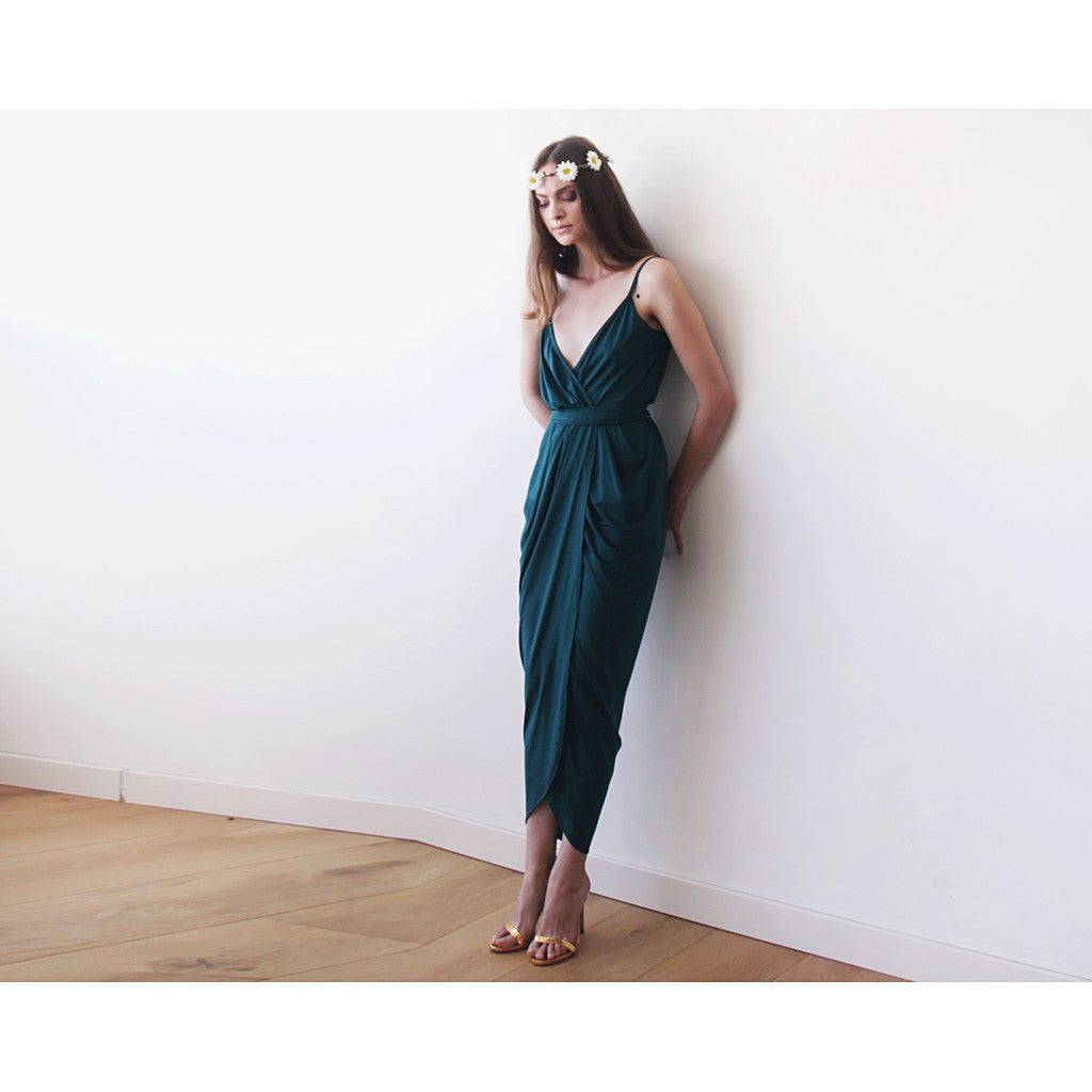 Wrap maxi Emerald green tulip dress, Emerald bridesmaids gown, Green tulip maxi dress - Maison du Roi - 2