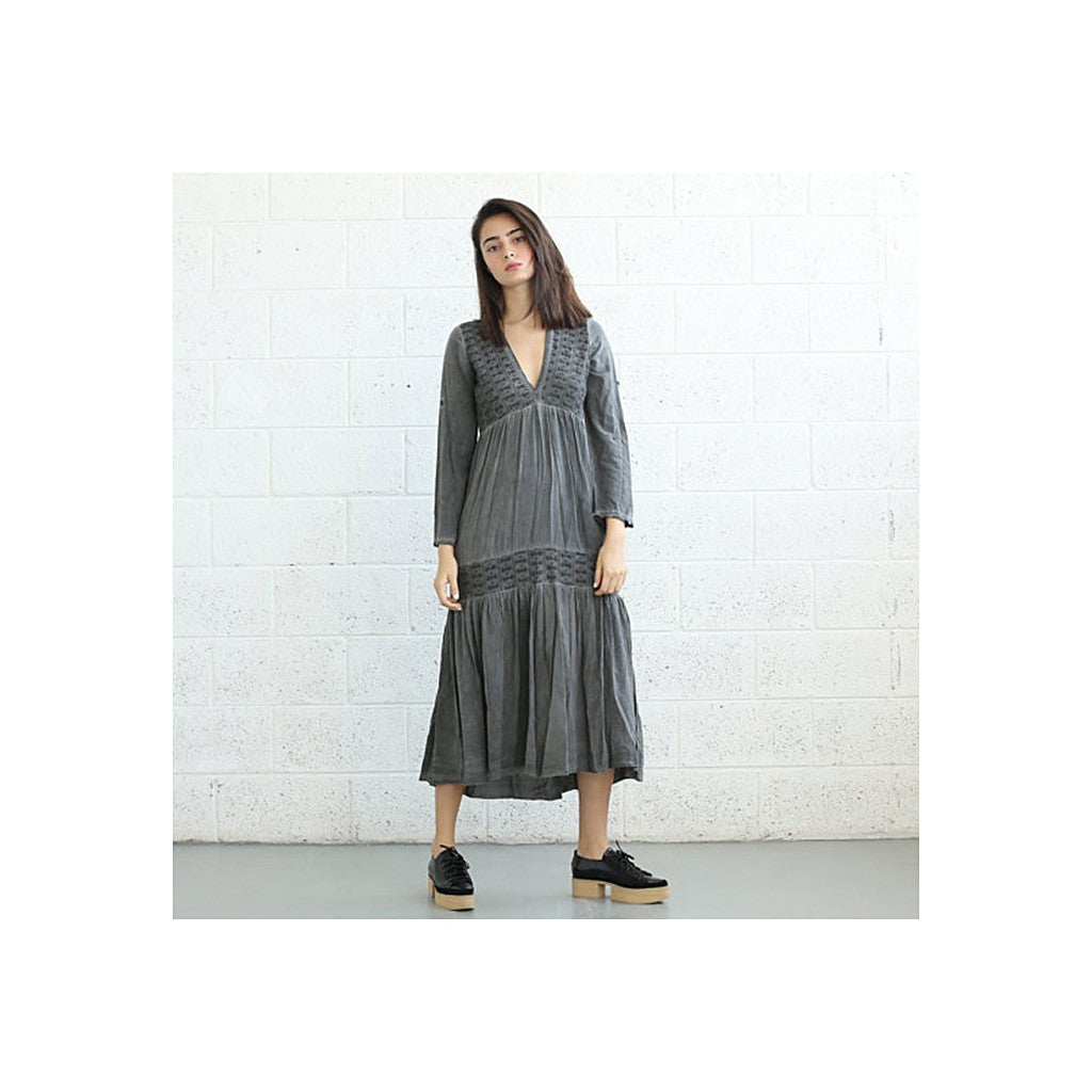 V-Neck Boho Dress, Gray. - Maison du Roi - 1