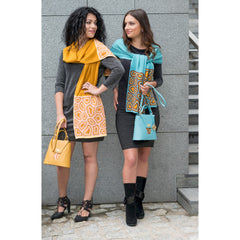 TATI BODUCH Designer Handbag, AGATE Collection, genuine leather: mustard, knitwear: turquoise - Maison du Roi - 2