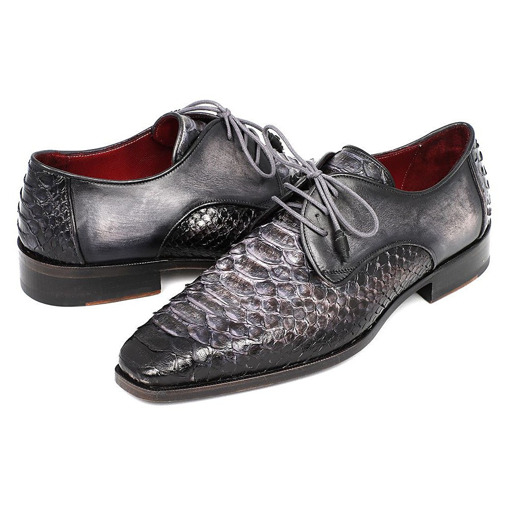 PAUL PARKMAN MEN'S GRAY AND BLACK GENUINE PYTHON & CALFSKIN DERBY SHOES (ID#PT59GRY) - Maison du Roi - 4