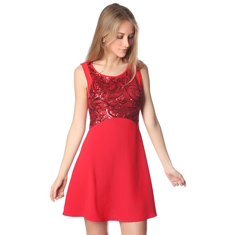 Red midi dress with sequin embellished bodice - Maison du Roi - 1
