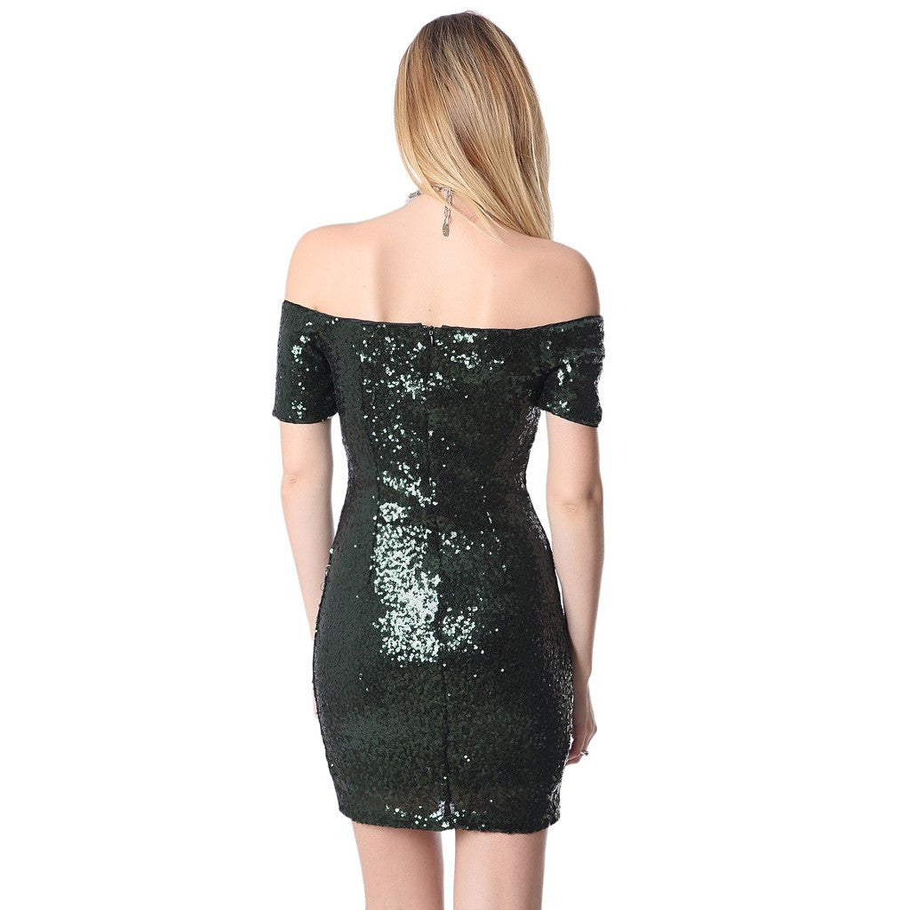 Green sequin mini dress with boat neckline - Maison du Roi - 2