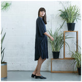 Oversized Buttoned Shirt Dress,Dropped Waist Shirt Dress, Dark Grey. - Maison du Roi - 2