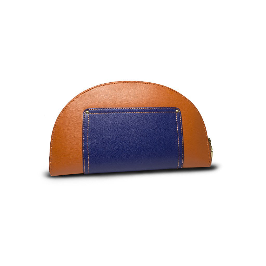 Orange/Navy Saffiano Leather Clutch - Hoopoe - Similar to Fendi - Maison du Roi - 4