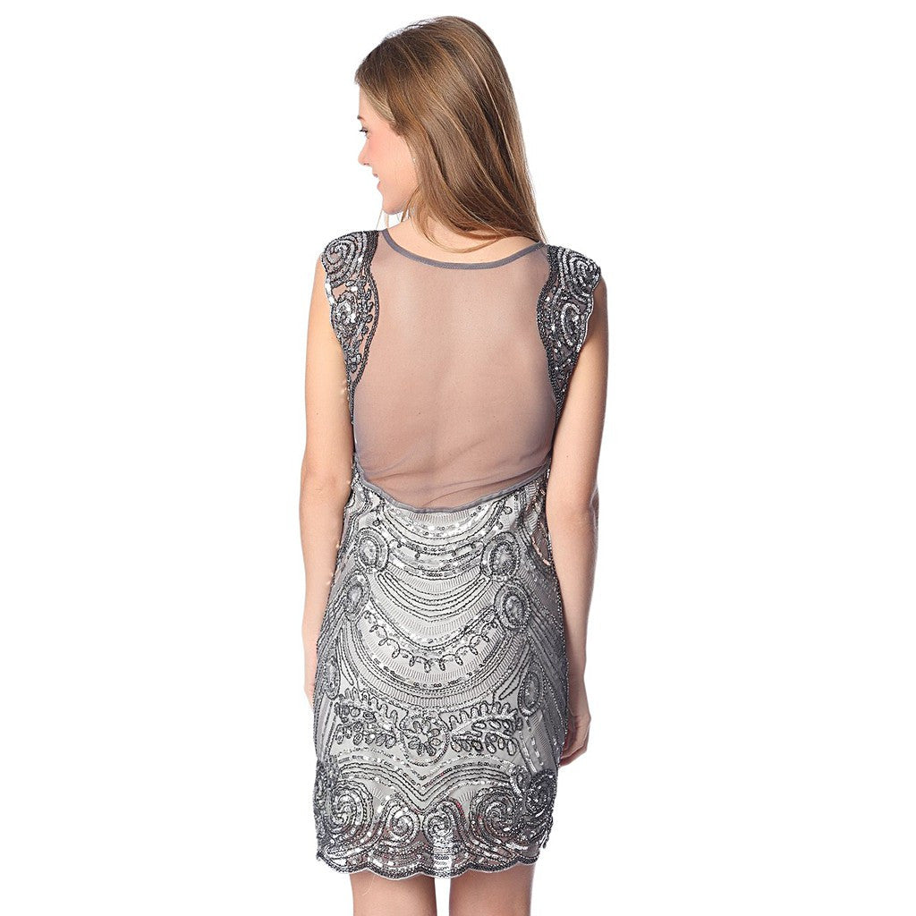 Silver sequin midi dress with deep back - Maison du Roi - 3