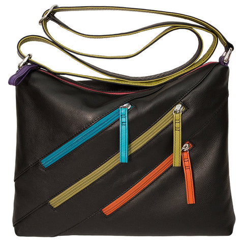 Leather Crossbody Bag with 3 Zippers - Black Brights - Maison du Roi