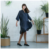 Oversized Buttoned Shirt Dress,Dropped Waist Shirt Dress, Dark Grey. - Maison du Roi - 5