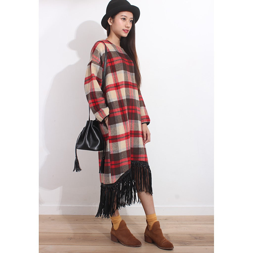 Tartan Oversized Furry Dress - Maison du Roi - 3