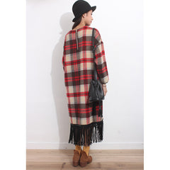 Tartan Oversized Furry Dress - Maison du Roi - 4