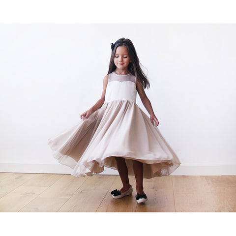 Gold-champagne  sweetheart illusion girl dress with tulle - Maison du Roi - 1