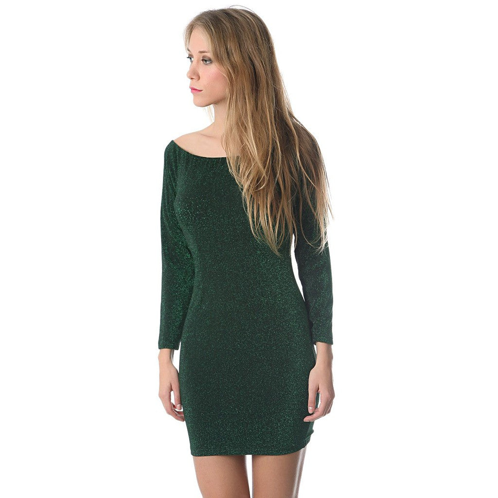 Green glitter mini bodycon dress - Maison du Roi - 3