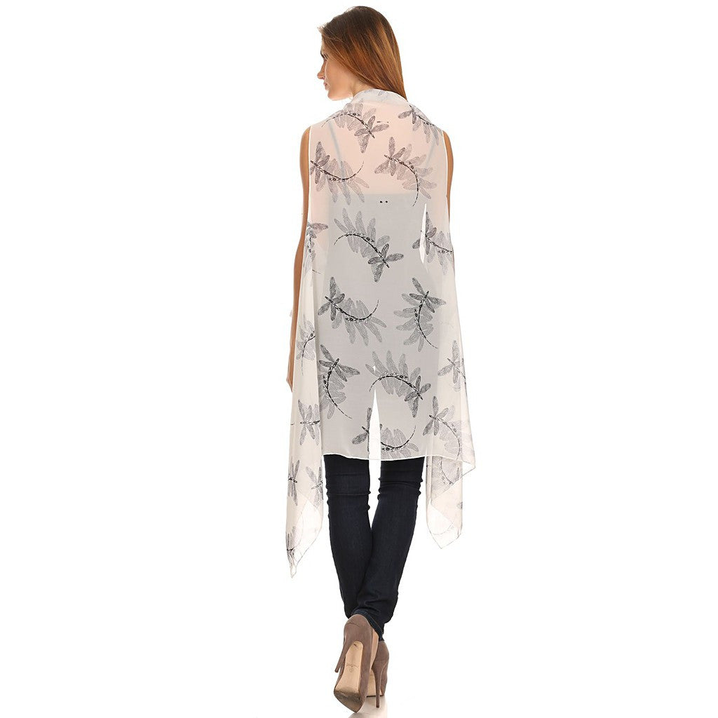 Womens Mid-length Lightweight Open Front Sleeveless Poncho. Dragonfly pattern. - Maison du Roi - 4